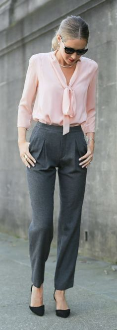 blush pink tie bow neck blouse, high-waisted pleated grey wool pants, classic black ankle strap pumps + silver choker