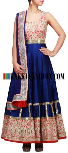 Buy Online from the link below. We ship worldwide (Free Shipping over US$100) http://www.kalkifashion.com/blue-anarkali-suit-embellished-in-aari-and-gotta-patti-lace-only-on-kalki.html Blue anarkali suit embellished in aari and gotta patti lace only on Kalki