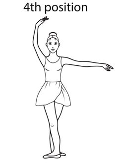 Ballet 4th Position coloring page from Ballet category. Select from 20946 printable crafts of cartoons, nature, animals, Bible and many more.