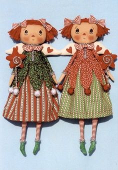 Happy Heart Christmas Fairies Holly and Candy The Pattern Hutch cloth doll stuffed craft pattern