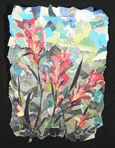 eileen downes, sacramento california artist, torn paper collage, wildflowers