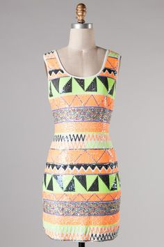 neon sequin aztec dress #swoonboutique