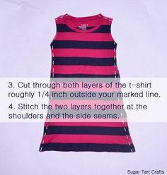 diy tshirt dress: turn adult t-shirt into kid's dress