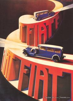 Vintage Car Advertisement Posters - Fiat