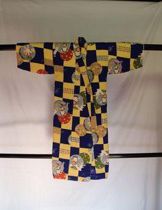 Child's Cotton Kimono, Vintage Japanese, Kintaro and His Rabbit and Monkey, Great Gift, For Child's Room or Nursery Decor *Free Shipping * by KominkaFabricsJapan on Etsy