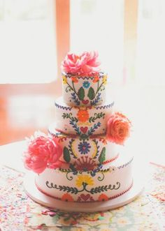 Loving this colorful, fiesta themed wedding cake! Wedding by Grit + Gold. Photo by Nbarrett Photography