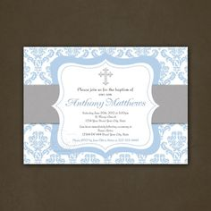 Printable Boys Christening Baptism or First Communion Invitation, Blue Damask, Cross, Religious Invitation, Christening, Communion, Elegant on Etsy, $12.89 CAD