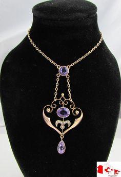 WOW~Estate~Art Nouveau 9ct Gold Amethyst Seed Pearl Lavalier Necklace   eBay