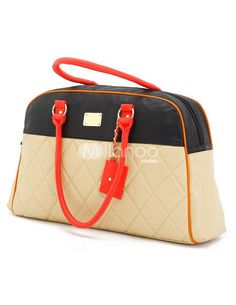 Split Two-Tone Quilted PU Leather Woman's Shoulder Bag - Milanoo.com