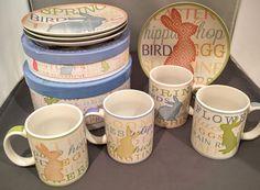Certified International Bunny Hop Ceramic Dessert Plate and Cup Mug Set of 4 | eBay