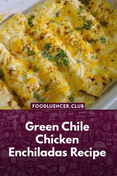 This Creamy Spicy Cream Enchilada is a dish that is easily prepared in less than 45 minutes, this dish is very tasty, combined with large shrimp and jalapenos, garlic, and baked with a delicious and soft spicy sauce. Green Enchilada Recipe, Green Chili Recipes, Green Chili Sauce, Green Chili Chicken, Enchilada Recipes, Mexican Food Recipes, Dinner Recipes, Mexican Desserts, Mexican Dishes