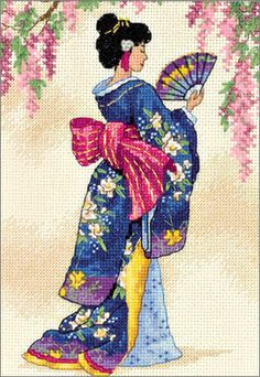 Cross Stitch Craze: Elegant Oriental Cross Stitch Geisha and Fan