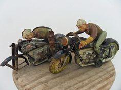Rare Motorcycle Mac 700 Clockwork Arnold Made US. Zone Germany 1940's Tin Litho