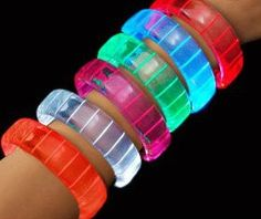 Private Island Party  - 12 Pack Flashing LED Bracelets Mix Colors, $21.00   These triple-wide flashing LED bracelets in dazzling really light up the night!  Great for Birthday Parties, Evening Events and Lazer-Tag teams!
