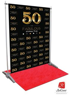 50 and Fabulous Birthday Backdrop - Black Birthday Backdrop Backdrop for birthday party entrance or photo booth. Banner stand and red carpet sold separately. 60th Birthday Ideas For Mom, 50 Fabulous Birthday, 70th Birthday Parties, 50th Party, 50 Birthday, 50th Birthday Themes, Birthday Gifts, Birthday Sayings, Birthday Images