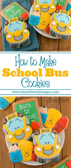 How to Make School Bus Cookies - Semi Sweet Designs Crazy Cookies, Cookies For Kids, Cute Cookies, How To Make Cookies, Cupcake Cookies, Edible Cookies, Cookie Icing, Royal Icing Cookies, School Bus Cake