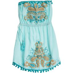 CALYPSO St. Barth Villy Turquoise Embellished Linen Dress ($239) ❤ liked on Polyvore featuring dresses, alightcc, blue sequin dress, boho dress, sequin dress, blue cocktail dress and sequin mini dress