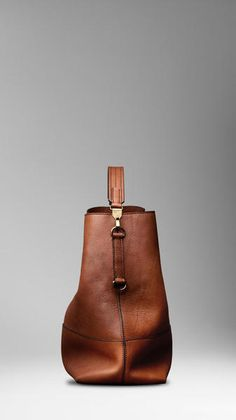Burberry Large Washed Leather Duffle Bag in Brown