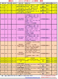 鐵能社烘焙大師之家 (Tetsuno Master Bakery Home) 鐵能社-2015年度3~4月課程 總表  baking class schedule for Mar-April in 2015