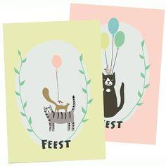 Stokwolf Uitnodigingskaarten 'poes'