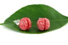 Zombie Brain Earrings Zombie Jewelry Quirky Jewelry by rubipotamus