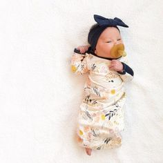 PRE-ORDER Whispy Wildflowers Layette Gown with Navy Accents