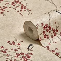 Graham & Brown Beige & Red Oriental Blossom Wallpaper | Departments | DIY at B&Q