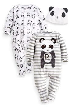 Buy Two Pack Panda Sleepsuits And Hat Set (0-2yrs) from the Next UK online shop