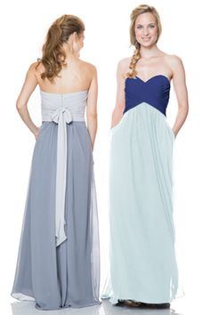 Bari Jay Style 1517 with Royal on the top and Misty Blue on the bottom on the right! #Bridesmaid #LongBridesmaidDress #BlueBridesmaidDress #ChiffonBridesmaidDress