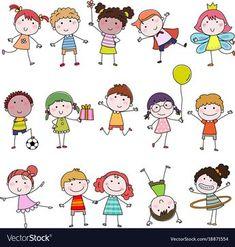 Set of cute happy cartoon doodle kids hand-drawn vector image on VectorStock Sheep Cartoon, Happy Cartoon, Cute Cartoon Girl, Kids Cartoon Characters, Cartoon Kids, Stick Figure Drawing, Main Image, Kids Vector, Photo Images