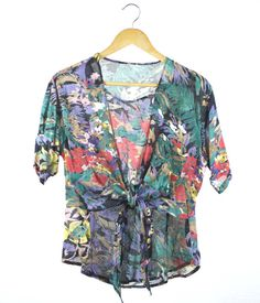 Vintage sheer floral print tie front short sleeve by FannyAdamsVC, $25.00