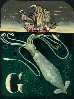 G is for Giant Squid by jenniferfrench on Etsy, $25.00