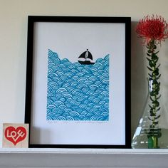 Bigger boat screen print in bright turquoise by Mengsel Design $65