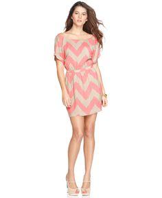 BCBGeneration Dress, Scoop Neckline Short Sleeves V Back Zigzag Striped A Line - Womens Dresses - Macy's
