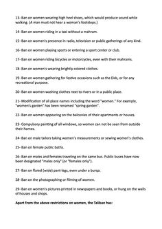 a list of the rules and restrictions the taliban put in place the  yet more things the taliban banned women from doing