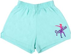Dress comfortably before and after practice with these Paradise Soffe shorts. These mint shorts are decorated with an ombre printed vinyl featuring a gymnast and the words Paradise. Gymnastics Clothes, Mint Shorts, Soffe Shorts, Paradise, Gym Shorts Womens, Cricut, Pairs, Summer, How To Wear