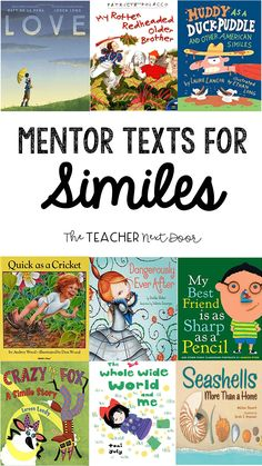 Mentor Texts for Teaching Figurative Language Figurative Language Activity, Teaching Writing, Teaching Verbs, Teaching Poetry, Teaching Ideas, Similes And Metaphors, 5th Grade Reading, Guided Reading, Alliteration