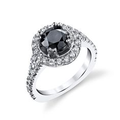 Black diamond ring...and a slim diamond band on each side for the boys