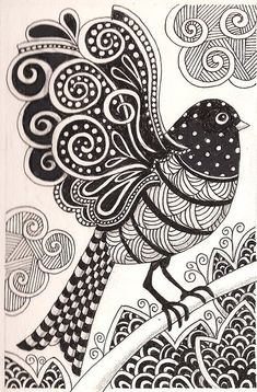 Free coloring page coloring-adult-dark-bird. dark bird drawing, with simple zentangle patterns Doodles Zentangles, Zentangle Drawings, Bird Drawings, Zentangle Patterns, Ink Doodles, Doodle Drawing, Zen Doodle, Doodle Art, Bird Doodle