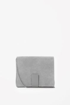 COS image 2 of Suede bag with chain in Light Grey