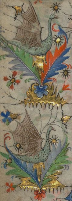 Dragons from the Amherst (book of) Hours, Flemish, 15th century | Walters Art Museum: Ms. W.167, detail of f. 101v.