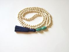 White wood bead tassel necklace White beaded by AellaJewelry