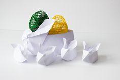 króliki z papieru i jajka cotton balls