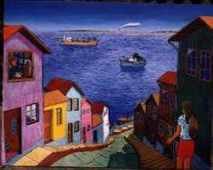 Resultado de imagen para pinturas casas valparaiso #falsoacabadomarmol Foto Iman, Arte Popular, House 2, Cactus, Quilts, Places, Painting, Lana, Buildings