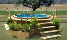 Swimming Pool. Small Wooden Above Ground Swimming Pools Design Arounding Small Plants And Flower: Modern Rustic Above Ground Swimming Pool. ...