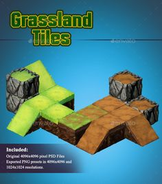 Grassland  Isometric 2D Tiles — Photoshop PSD #hand painted #tileset • Available here → https://graphicriver.net/item/grassland-isometric-2d-tiles/14441990?ref=pxcr