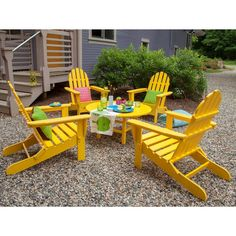 Polywood® 5-Piece Adirondack Conversation Furniture Set. Image 2 of 4.