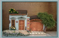 fachadas - Porton de ceramica - Google Search Clay Pot Projects, Bird Houses Painted, Clay Houses, Ceramic Bisque, Miniature Fairy Gardens, Diy Dollhouse, Diy Clay, Little Houses, Painting On Wood
