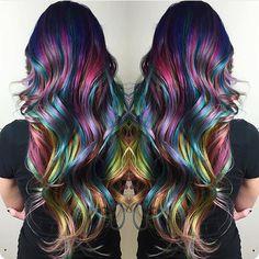 Amazing rainbow hair color and style by Christi Edier hotonbeauty.com mermaid hair unicorn hair long hair long colorful hair