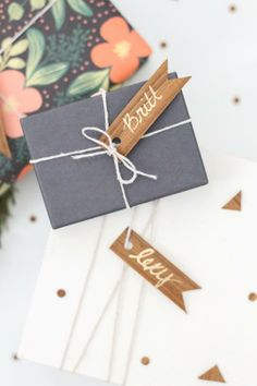 DIY wood veneer tags. Could be used for the seating chart or gifts for wedding party